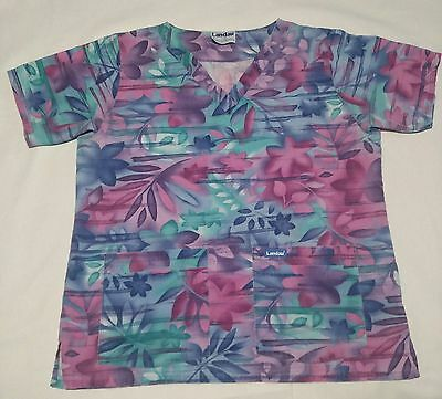 Landau Short Sleeve Scrub Top M  Multi Color Floral