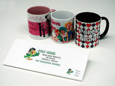 50 Pack - Mug Sublimation Paper - Poly Paper - High Quality - Tested & Proven