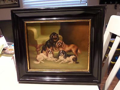 Vintage Oil Canvas Painting Cavalier King George Spaniel Dog Dogs Chelsea House