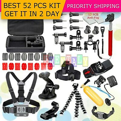 52in1 Head Chest Mount Monopod Accessories Kit For GoPro Hero 2 3 4 5 Camera
