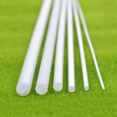 ABS Round Plastic Stick Rod White Length 250mm Model Scenery Building DIY 5 Size