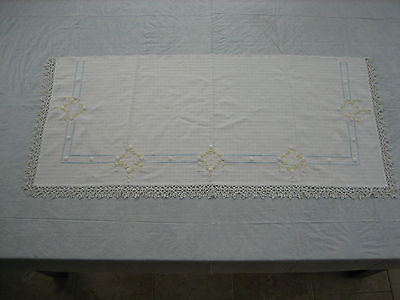 Vintage Cream Mantle / Table Runner Yellow Embroidered Flowers, Lace Edge