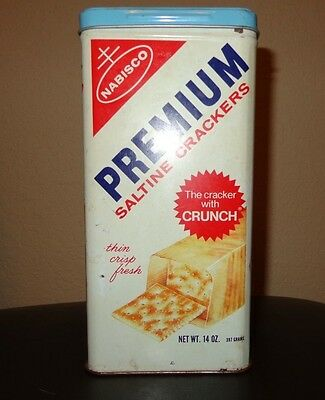 Vintage 1969 Nabisco Premium Saltine Crackers Metal Tin Canister 14 Oz