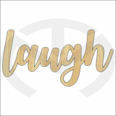 Unfinished Wood Calligraphy Script Word Laugh Laser Cut, Large Sizes, Home Decor
