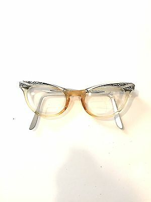 """Women's Vintage MARINE  Cat Eye Glasses USA Silver etched 5 1/2"""""""