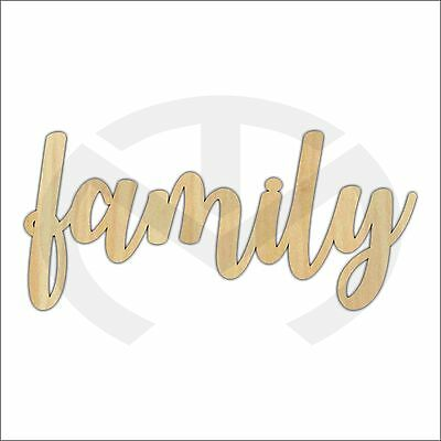 Unfinished Wood Calligraphy Script Word Family Laser Cut, Large, Home Decor