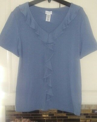 Womens Jaclyn Smith Blouse Blue Short Sleeve Business Casual Top size Medium
