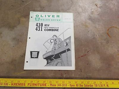 Oliver Introduction 430, 431, self-propelled Combine Brochure