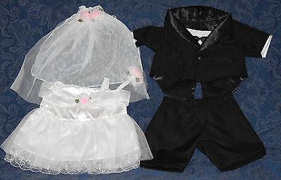 "Set of Teddy Bear GROOM (Tuxedo) & BRIDE CLOTHES Fit 14-18"" Build-a-bear !NEW!"