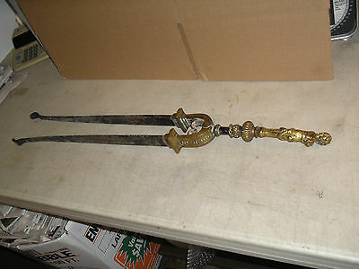 Antique Solid Brass Fireplace Tongs