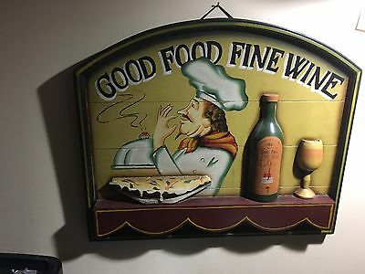 3-D Wooden Sign Good Food Fine Wine.
