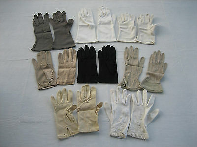 Mixed Lot 8 Pairs Of Vintage Ladies Gloves, Variety Of Sizes and Colors - LotA