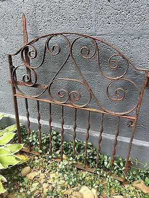 Old Rusty Wrought Iron Architectual Antique Garden Gate Victorian