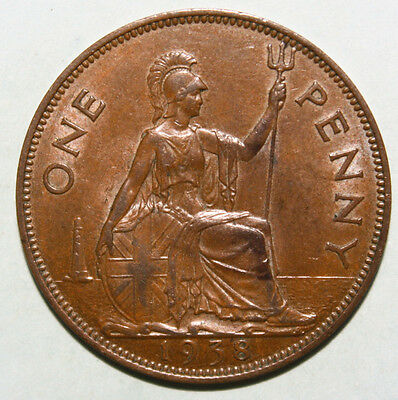 Great Britain 1 Penny 1938 Almost Uncirculated Copper Coin - King George VI