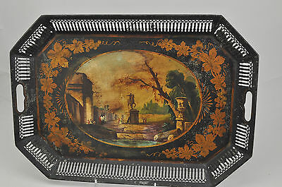 Antique French Painted Tole Tray with Gallery Early 19th Century