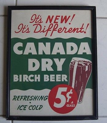 CANADA DRY BIRCH BEER CARDBOARD SIGN 5 CENTS PER GLASS VINTAGE 1950s RARE NICE