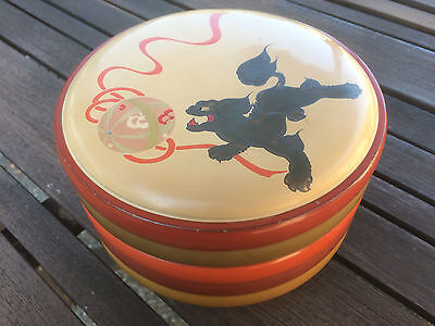 Very old Round Japanese or Chinese Lacquer Bowl with Lid, multicolored