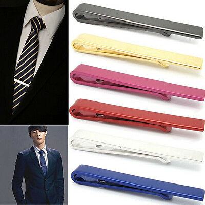Mens Silver 4CM Slide On Tie Bar Stainless Steel Clasp Pin Wedding Clip Gift ST
