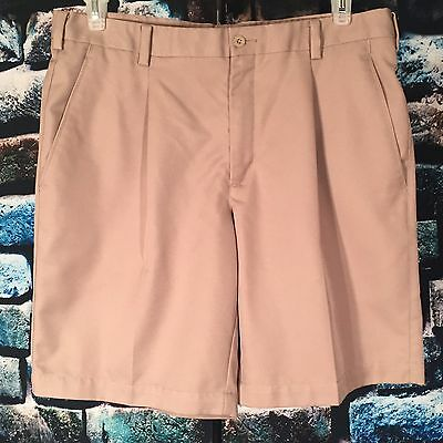 Men's NIKE GOLF 36 Fit-Dry Khaki Beige Pleated Shorts