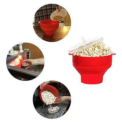 Silicone Microwave Popcorn Maker Bowl Collapsible Container DIY Kitchen Tool