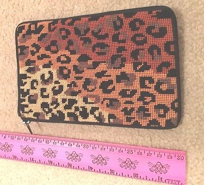 Small Leopard Needlepoint And Velveteen Zippered Pouch