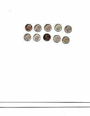 Lot Of 10 Roosevelt Dimes Mixed Dates Silver