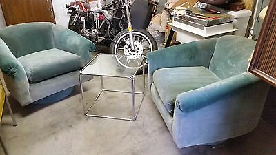 Mid Century Modern Pair swivel Barrel Back  Baughman ,Regency CLUB ERA
