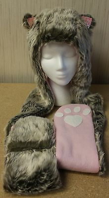 New Girls Osfm Hooded Critter Hat Scarf W Ears Faux Fur With Hand Paw Pockets