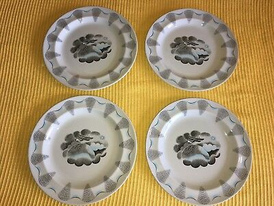 """Wedgewood TRAVEL by artist Eric Ravilious 8 1/8"""" Desert Plates Salad Lot of 4"""