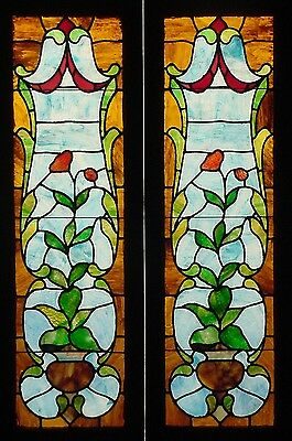 Pr. Antique American Floral Stained Glass Sidelights