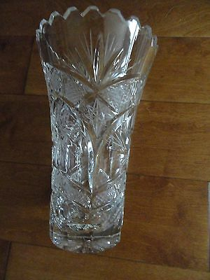 "Exquisite Hand Cut Lead Crystal Flower Vase, 7 18"" tall, 4"" opening"