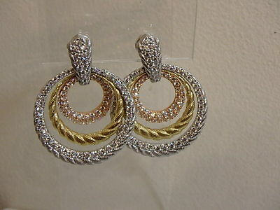 Judith Ripka Sterling Diamonique Sterling Yellow Rose Gold Clad Earrings Clip On