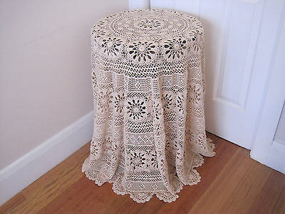Gorgeous Hand Worked Large Round Cream Crochet Lace Tablecloth