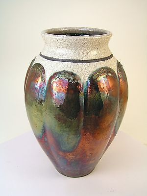 """Raku fired altered vase with copper luster & white crackle glaze 9-5/8"""" x 6-1/2"""""""