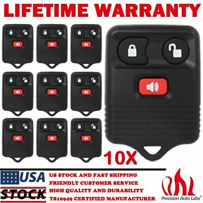 Lot of 10 Replacement 3 Button Keyless Entry Remote Key Car Fob For Ford Mercury