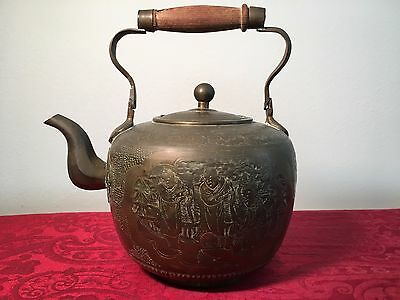 Chinese Brass Tea Kettle (Old Antique Pot Bronze Copper China Asia Figure People