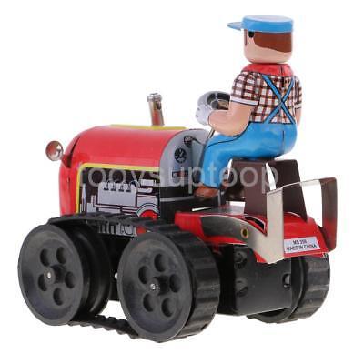 Vintage Collectible Gift Clockwork Farm Tractor Model Tin Toy wi/ Windup Key