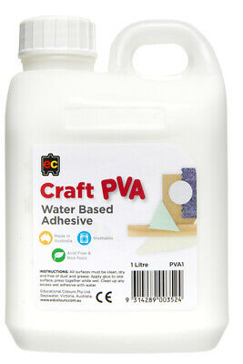 EC Craft Glue PVA Kids Water Based Adhesive  Acid Free + Non Toxic - 1 Litre