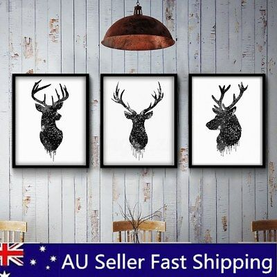 3PCS Deer Head Minimalist Art Canvas Poster Watercolor Print Painting Unframed