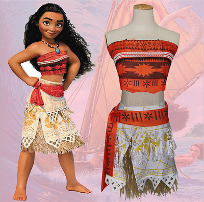 Disney Kids/Girls Moana Costume Princess Fancy Dress Necklace Cosplay Cloth Robe
