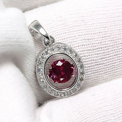 Solid 925 Sterling Silver Natural Ruby CZ Gemstones Jewelry Necklace Pendant