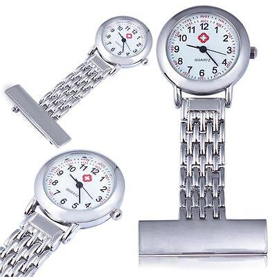 High Quality Nurses Stainless Steel Fob Watch Silver Pocket Watch Pin to ShirtVp