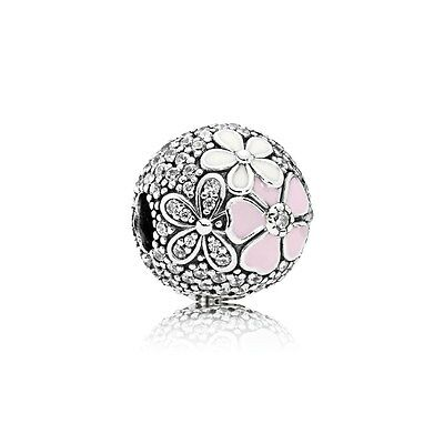 Genuine Pandora Silver Charm Bead Poetic Blooms Clip 792084CZ