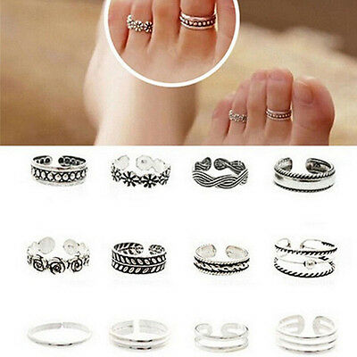Set Of 12 Silver Tone Toe Rings Adjustable To Fit Most  - Uk Seller