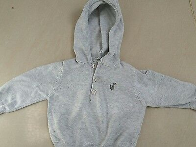 pre-owned baby boys mama's & Papas grey hooded top 6/9mths g.c