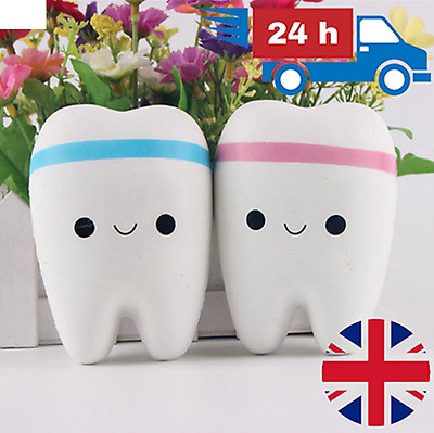 JUMBO Squishy Cute Tooth | Teeth Soft Fun Slow Rising Release Kid Toy Gift UK |
