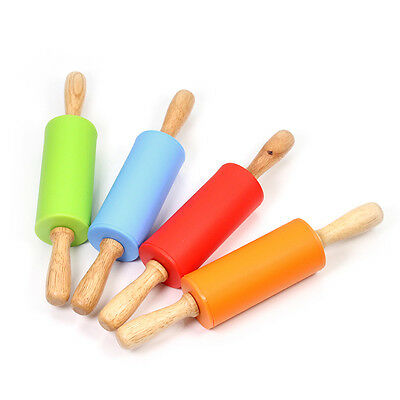 Length Non-stick Silicone Rolling Pin With Wood Handle Kitchen Tool For Kid New