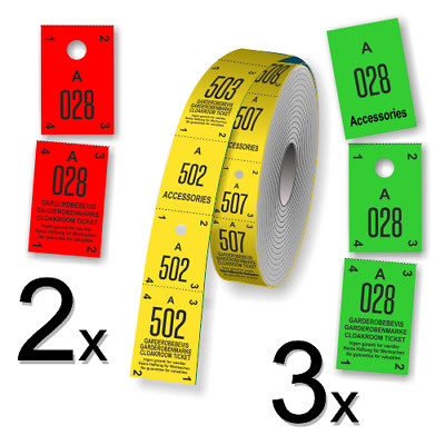 Cloakroom & Coat check ticket rolls with Serial numbering  500 tickets per roll