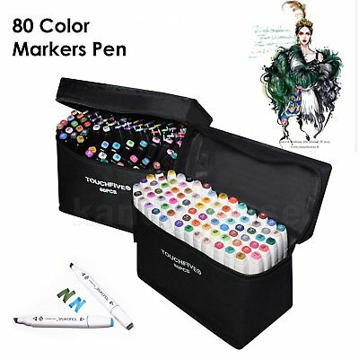 Markers Pen 80 Colour Set Graphic Twin Tips Broad Fine Colouring Art Sketch AU