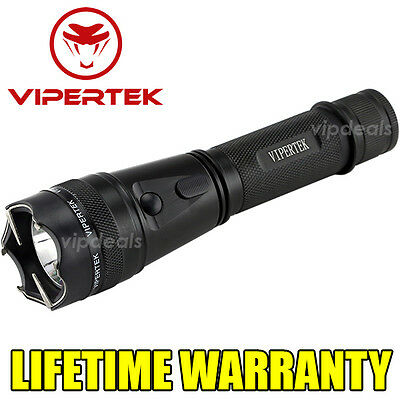 VIPERTEK VTS-195 Metal Police 900 MV Stun Gun Tactical Rechargeable LED Light